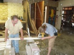 Using the circular saw to free hand the rafter notches