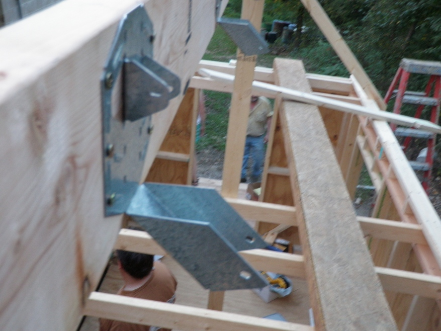 Rafter Hangers Placed Along The Length Of The Ridge Beam