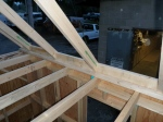 Installing the blocking between rafters on top of the header