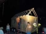 Installing the Hurricane Clips to hold the roof to the walls under the conditions created by hauling the tiny house down the road...