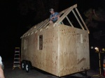 THE ROOF, THE ROOF, THE ROOF IS ON [the tiny house]!