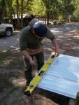 Prepping the metal sheeting