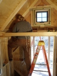 Putting up the 2x4 blocking inside to create places for the siding to be nailed to...