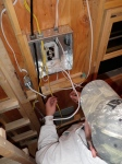 Preparing the breaker box for the tiny house's 5 circuits.