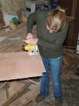 Cutting the luan to size for the pantry backing...