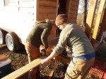Ripping down the last piece of cedar siding...