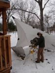 Needed to string up the tarp again to keep the snow from falling on the saw!