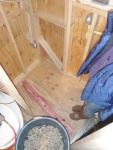 Wool insulation and Eastern Red Cedar: ready to begin putting up the walls...
