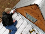 It was tricky getting the corner trim around the edges of the front porch roof!