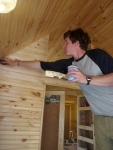 The Tung Oil lets the colors and textures of the knotty pine leap out!