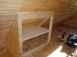 1X8 Pine shelving in place.