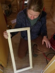 Closet door frame ready for knotty pine.