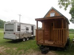 """Front"" of the tiny house compared to the ""Back"" of the camper."