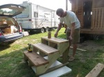 Putting the frames together with the 2X6 Cedar steps.
