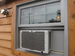 Exterior view of the small AC unit.